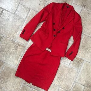 Express Red Skirt Suit
